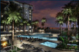 Rendering - Night scene of new resort pool deck.